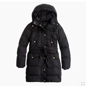 J. CREW Black Wintress Belted Puffer Coat